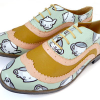 Wonderland Tea Party Kawaii Brogues Sz UK6 US 85 by PonyChopsShop