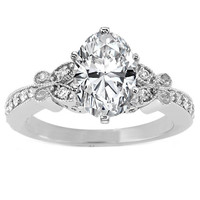 Engagement Ring - Oval Diamond Butterfly Vintage Engagement Ring setting 0.16 tcw. In 14K White Gold - ES334OVWG