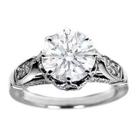 Engagement Ring - Pave Edwardian Era Design Engagement Rings 0.30 tcw. In 14K White Gold - ES405WG
