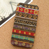 Handmade Tribal Stripe Pattern Fabric Phone Case For iPhone 4/4s