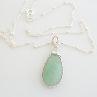 Green Aventurine Necklace Green and Silver Necklace by Jewels2Luv