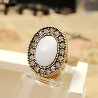 Vintage Style Seashell Oval Ring F74