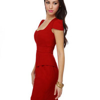 Cute Red Dress - Retro Dress - Peplum Dress - $38.00