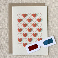 Love Card 3D Hearts by witandwhistle on Etsy