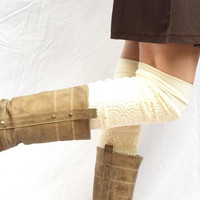 Cream bamboo knit leg warmers by RunSystem63 on Etsy