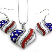 USA American Flag Heart Patriotic 4th of July Independence Day Pendant Necklace & Dangle Earrings Set:Amazon:Jewelry
