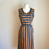 vintage 60s day dress - CHANCE of SHOWERS rainbow striped dress / M