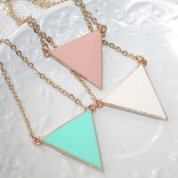 Triangle Pastel Necklace, Geometric Minimalist Modern Necklace, Urban Arrow Necklace, Mint, Cream, Lilac, Peach, Yellow