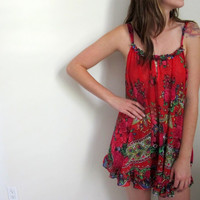 Vintage Betsey Johnson See Through Floral Print Mini Dress Lingerie Intimates Betsy Red Paisley
