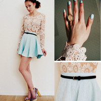 Skirt, Top, Shoes //â??Pale blueâ? by Petra Karlsson // LOOKBOOK.nu