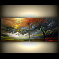 art original painting tree painting art abstract art original abstract painting art tree painting acrylic painting 56 x 22