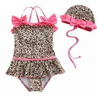 Toddler Girls&#x27; Swimsuit, Leopard Animal Print, One-Piece Swimwear, Size 5