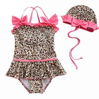 Toddler Girls' Swimsuit, Leopard Animal Print, One-Piece Swimwear, Size 5