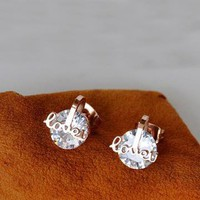 Love U with Extra Twinkling CZ Ear Studs by forevervintage on Zibbet