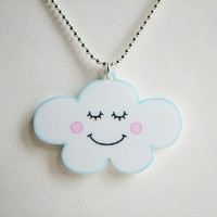 Cute Cloud Acrylic Necklace - Kawaii Childrens Jewellery - Flossy The Cloud A Hoobynoo World Charact