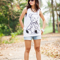 35% OFF Cartoon Bear Tank Top - Women t-shirt tank top Tunic Unisex Shirt Vest Women Sleeveless Singlet White T-Shirt Size M L