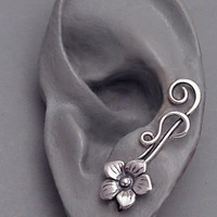 Sterling Flower Ear Pin Sweep - SUMMER - Single Sterling Silver Ear Pin Earring