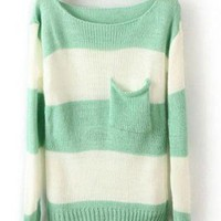 Green White Stripes Long Sleeve Sweater