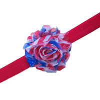 Shabby chic fourth of July flower headband - red, white, blue headband, baby headband