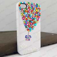 UP phone cover white case hot air balloon iphone case Original Balloon Crystal Bling Bling Phone Case bling iphone case