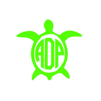 Monogrammed Turtle Decal - Personalized 5 x 5 Sticker -  Custom Nautical Car Decal