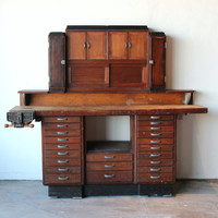 Mid Century Vintage Antique Industrial Watchmaker's Desk Workbench