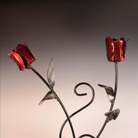 Pottery n Things - Double Metal Rose Wall Decoration