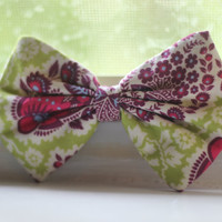 Green and Purple Paisley Hair Bow by BiancaParisTaylor on Etsy