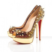 Christian Louboutin Very Mix 150 Peep Toe Pump In Vulcano - &amp;#36;151.00