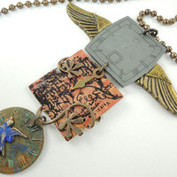 Time Flies Steampunk Clock theme Necklace