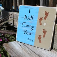 Beach Sign Footprints in the Sand Inspirational by justbeachyshop
