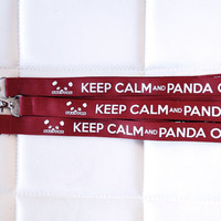 Steppie / Keep Calm and Panda On Lanyard Maroon / White by steppie
