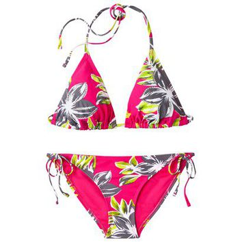 Xhilaration® Junior's 2-Piece Bikini Swimsuit -Pink Floral Print