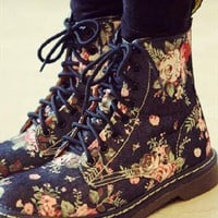 flora pattern denim boots dark blue from mancphoebe