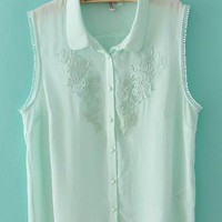 Crochet Lace Blouse with Collar