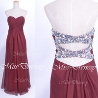 Strapless Sweetheart with Crystal and Sequined Wine Red Chiffon Long Prom Dresses, Wedding Party Dresses, Evening Gown, Homecoming Dresses