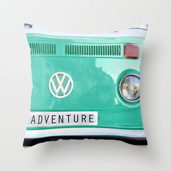 Adventure wolkswagen. Summer dreams. Green Throw Pillow by Guido Montañés