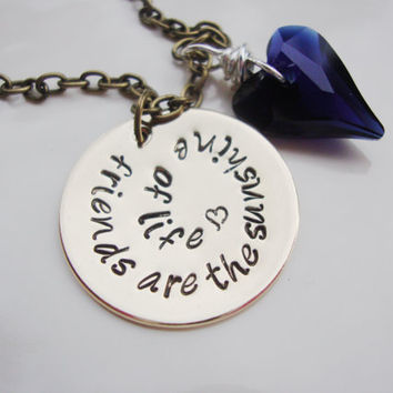 Friends are the sunshine of life brass necklace with deep navy blue swarovski crystal heart