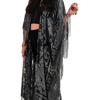 Grey Floral Brocade Velvet Burnout Gypsy Fringe Kimono Duster