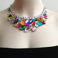 ON SALE colorful bib necklace - rainbow color rhinestone bib necklace, bridesmaids necklace, prom necklace, wedding jewelry gift or for you