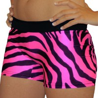 Wild Neon Hot Pink Zebra Printed Flip Waist-Band Spandex Compression Shorts