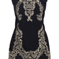 Brocade Beauty Dress | Embroidered Gold Black Dresses | Rickety Rack