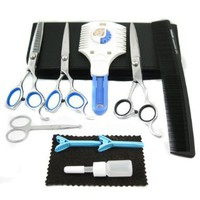 Easy Groom 10-piece Pet Home Grooming Kit - Curved Scissor, Cutting Scissor, Thinning Shear, Round-Tip Trimming Scissor, Razor Comb Trimmer Set:Amazon:Pet Supplies