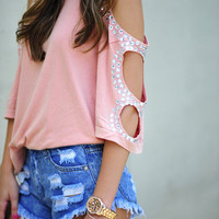 Jewel Love It Top: Blush/Rhinestone | Hope's