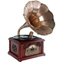 Amazon.com: Pyle-Home PTCDS3UIP Classical Trumpet Horn Turntable with AM/FM Radio CD/Cassette/USB & Direct to USB Recording: Electronics