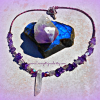 Crystal Pendant Necklace, Amethyst Stone Beaded, Chakra Jewelry, Direct Checkout