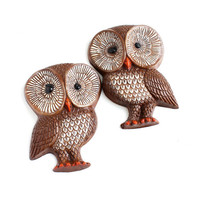 Vintage Owl Wall Hangings - Lot of Two 1960s Matching Rustic Home Decor Plaques / Big Brown Eyes