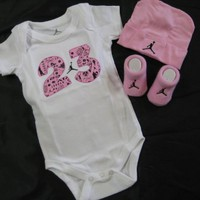 "Nike Jordan Infant New Born Baby 0-6 Months Lap Shoulder Bodysuits, Booties and Cap With ""Air Jordan"" Sign PCS Set New"