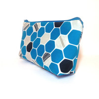 Cotton Zipper Pouch  Medium Pouch Cosmetic Bag Pencil Case - Blue, Grey and Black Hexagons