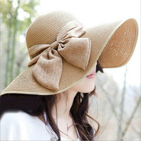 Vintage Straw Derby Cap Womens Flax Bow Wide Large Brim Summer Beach Sun Hat